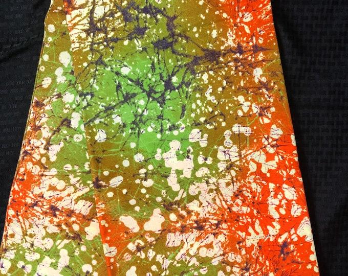 MC75 African fabric per yard orange green brown tie dye fall/autumn leaf forest Design / ankara/ african Material/ Cloth/ wrapper/Head tie