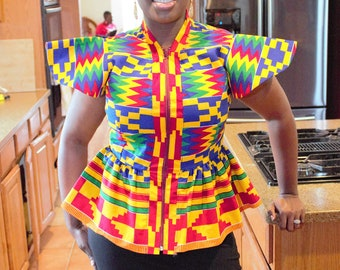 Yellow blue red cotton african ghana kente women's jacket top /blouse