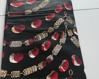6 yards Vlisco Black red beige necklace design Funeral cloth/ Ankara/ african Material/ ethnic print / African fabric