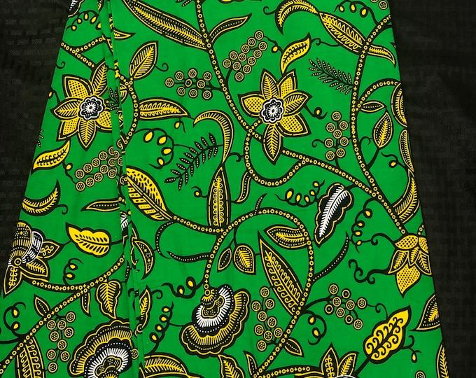 GY12 African fabric per yard Green yellow / African Wax print/ Ankara/ African Material/ cloth/ wrapper