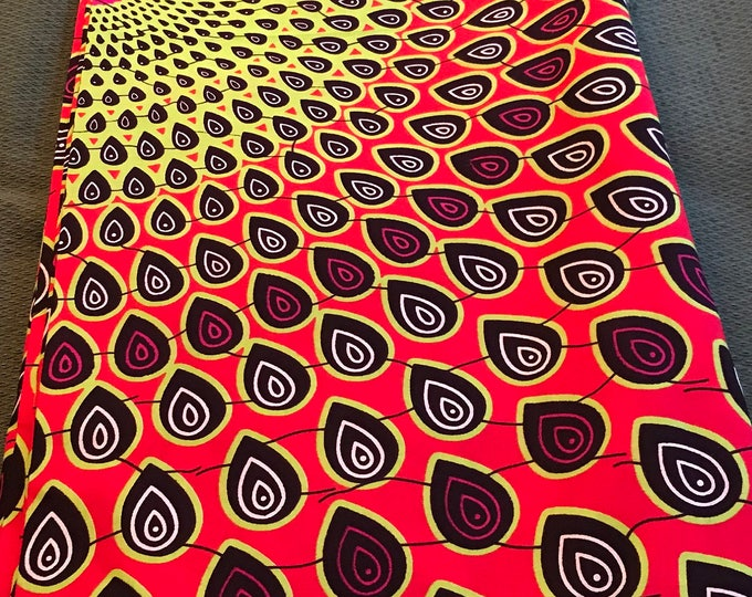 A1220 1 yard Green and orange African fabric/Ankara/ African Wax print/ for dresses/ African dolls/ African upholstery