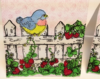 Mini Note Cards, Set of 2,Bird and Strawberries on Fence, 3x3,With or Without Envelopes, Heartfelt Creations,Sparkles,AnyOccasion Mini Cards