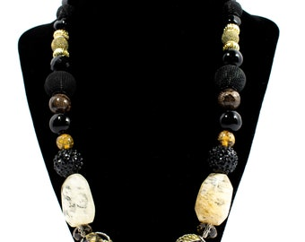 Black necklace with beautiful details, handmade