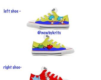 f5c9289eb3 Custom converse Dr. Suess Kids shoes