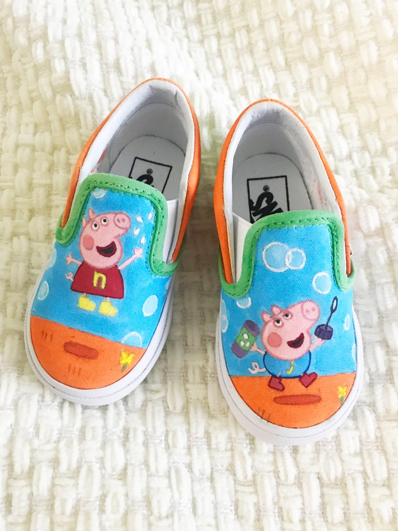 867120af5cde Custom hand painted peppa pig george kids  toddler vans shoes