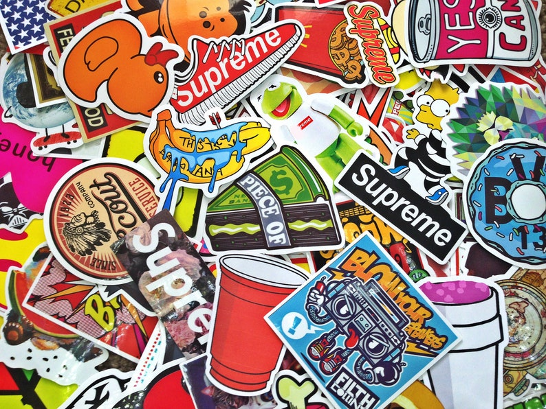 8679fa5330640 Supreme Sticker-Bombing Sticker Pack, Laptop Stickers, Bright Hypebeast  Stickers