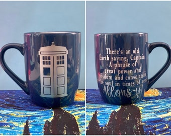 Doctor Who inspired coffee mug — 10th Doctor quote