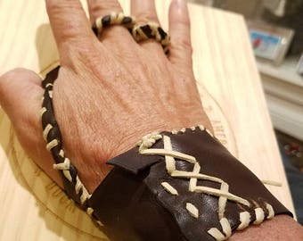 genuine leather hand made jack sparrow palm hand glove