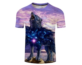 wolf shirt men mens clothing wolf silver wolf gray t by 1AEON