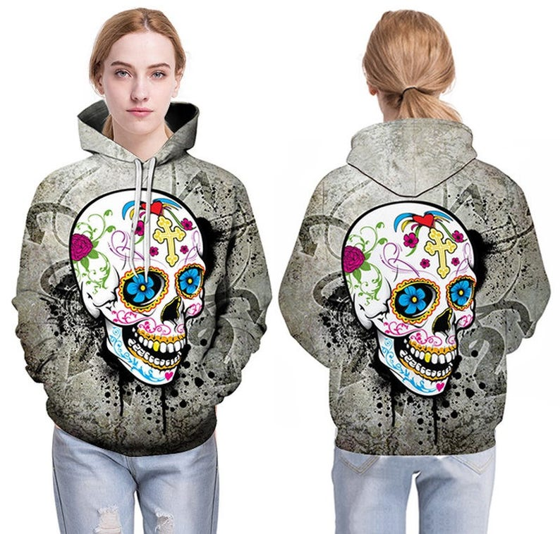 Womens Skeleton Bone Hands Pullover Hoodie NEW UK 12-20