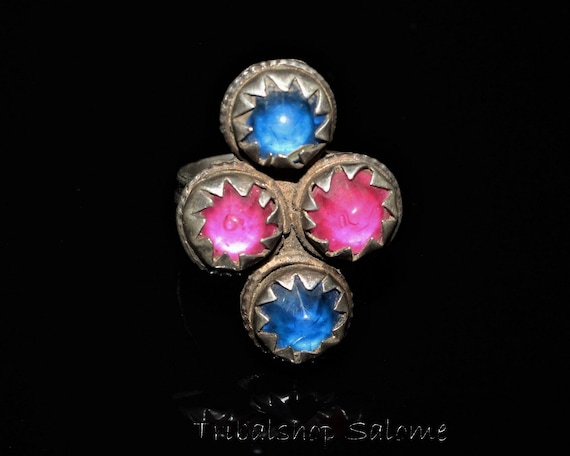 Gift for Her Old Ethnic Tribal Nomad Ring US Size 9 Collectors Piece Vintage Afghan Silver Ring with Glass Jewels