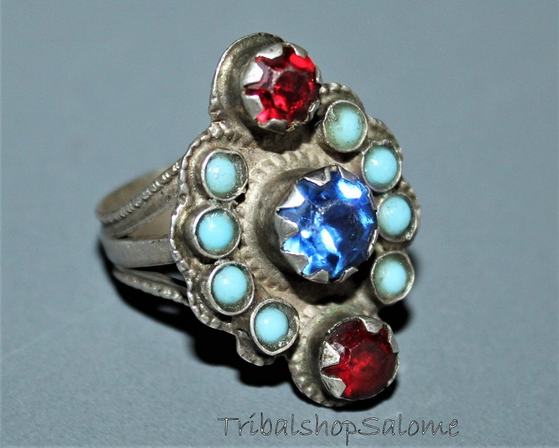 Collectors Piece Gift for Her Vintage Afghan Silver Ring with Glass Jewels US 8 Old Ethnic Tribal Nomad Ring