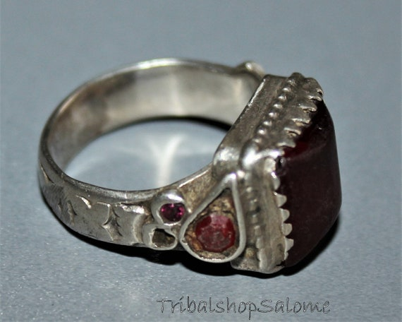 Collectors Piece Old Ethnic Tribal Nomad Ring Gift for Her US Size 8 Vintage Afghan Silver Ring with Glass Jewels and Bells