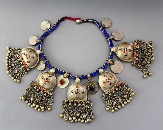 Vintage Tribal Necklace with Puff Pendants, Baloch