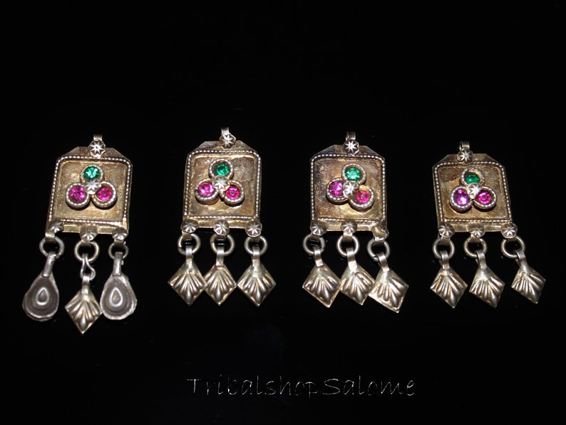 Weight 18,2 g Old Small Gilded Balochi Silver Pendants with Pink and Green Jewels Set of 4 Pieces