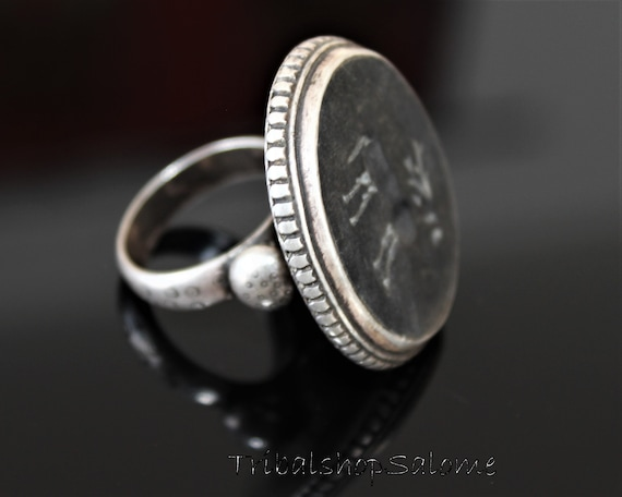 Vintage Afghan Sterling Silver Ring with Flat Black Onyx and Gazelle Nomad Mens Ring Ethnic Jewelry US Size 11