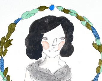 Original Drawing / Original Artwork / Watercolour and Pencil Illustration on Paper / 'Girl With Wreath'