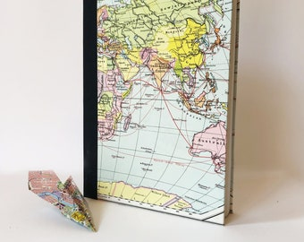 The travel diary: sustainable and handmade DIN A5   with maps from the Diercke World Atlas