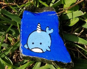 Adorable narwhal painted rock