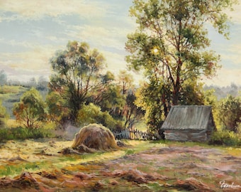 """Oil painting """"Hayfield"""""""