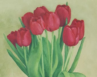 Original Contemporary Oil Painting - Tulips