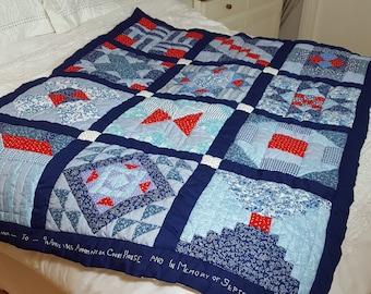 Hand-sewn Patchwork Lap or Cot Quilt - Civil War / Log Cabin