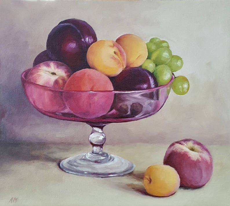Original Contemporary Oil Painting Fruit Bowl Etsy