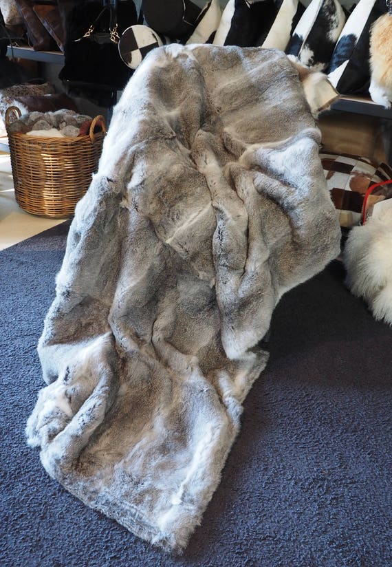 2019 Luxury Rabbit Fur Throw 100/% Real Rex Fur Warm Soft Bedspread Blanket King