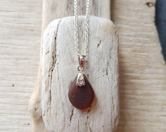 Brown seaglass, seaglass necklace, brown seaglass pendant. Seaglass jewelry, gift for her, brown pendant