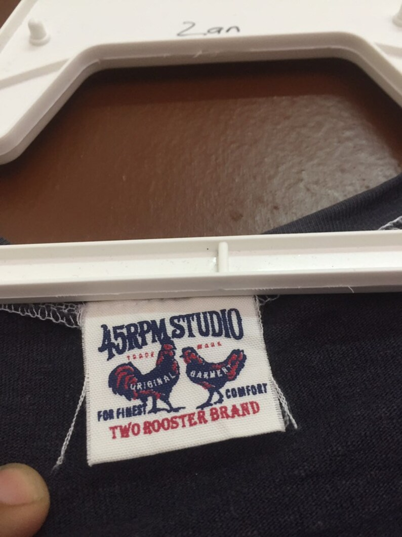 45Rpm Japanase Brand Spellout Brand Vneck Unisex Kids Blue Colour Medium Size Tshirt