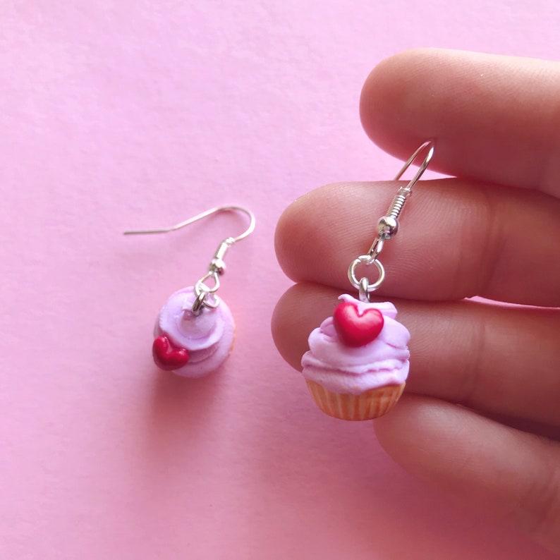 Heart Cupcake Earrings  Cupcake Earrings  Miniature food  Funny earrings