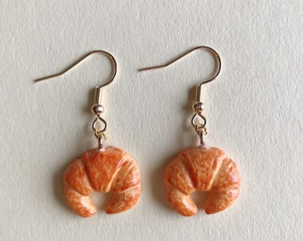 Croissant Earrings / Croissant Earrings / Miniature food / Funny earrings