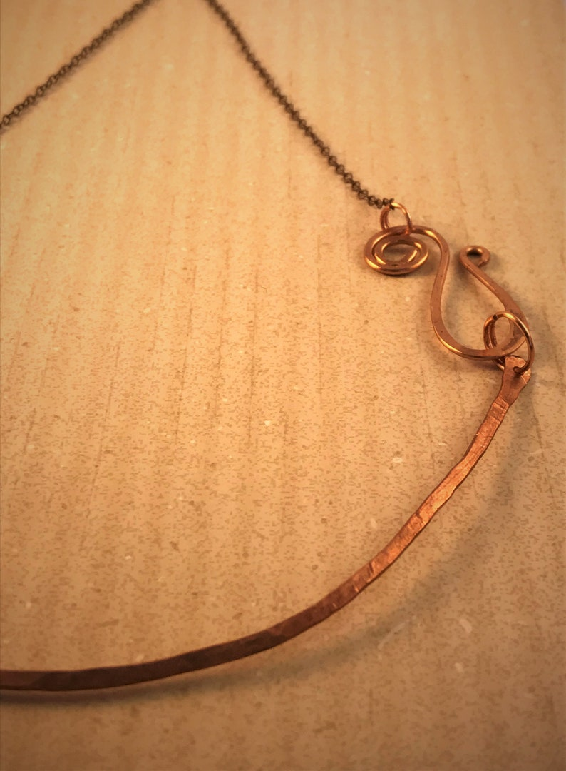 minimal made to order with a swirl clasp rustic Hammered copper necklace