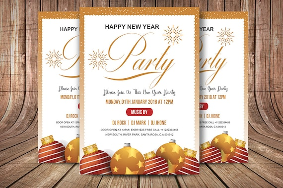 New Year Party Flyer Template Printable New Year Invitation Card Ms Word Photoshop And Elements Template Instant Download