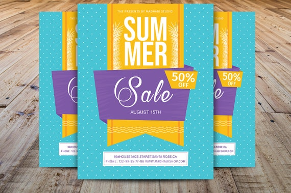 Summer sale flyer template summer event flyer summer etsy image 0 maxwellsz