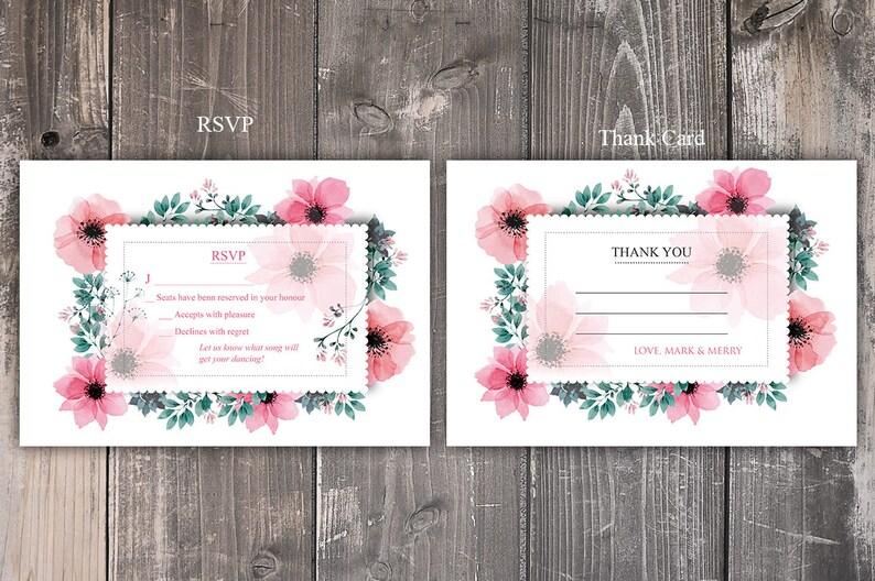Pink Floral Wedding Invitation Package Printable Wedding Invitation Suite Flower Wedding Invites Instant Download