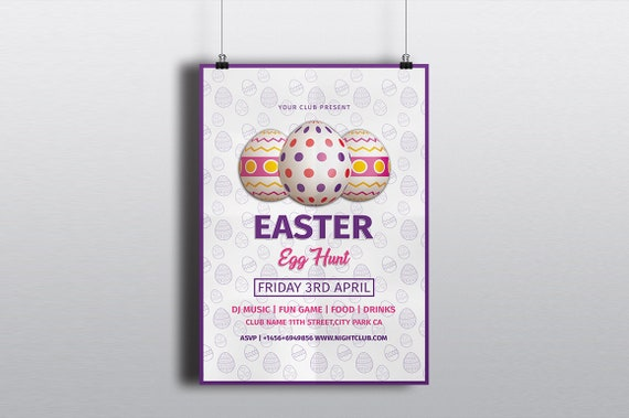 Easter Egg Hunt Flyer Template, Easter Invitation, Happy Easter Party  Flyer, Photoshop, Elements and MS Word Template, Instant Download