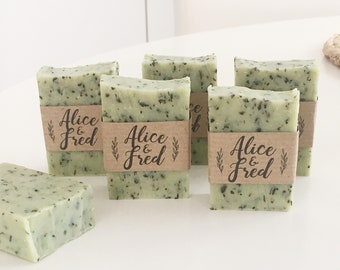 20 wedding soap favors, baptism soap favors, bridal shower soap, anniversary favors, baby shower soap favors, mint soap rustic design