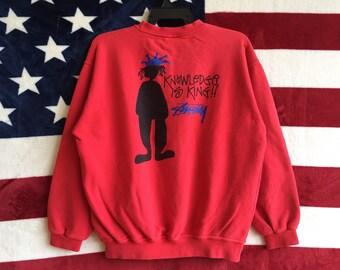 Vintage 90s Stussy Big Logo Sweatshirt Red Colour Stussy Knowledge Is King Sweater Pullover Stussy Usa Crewneck Large Size Stussy Crewneck