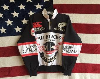 Vintage 90s Canterbury Of New Zealand All Blacks Sweatshirt Black White Colour  All Black New Zealand Sweater Pullover Medium Size All Black