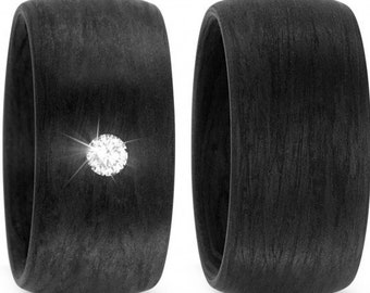 Carbon rings with diamond wedding ring engagement rings Trauring