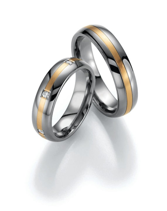 Pair of Handmade Wedding Rings Wedding Bands 585 950 Platinum or 925 Sterling Silver with Diamond 750 Gold