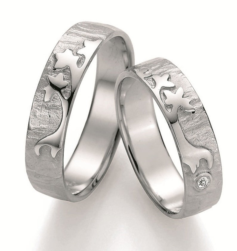 Pair of wedding rings engagement rings Partner rings 925silver with diamond