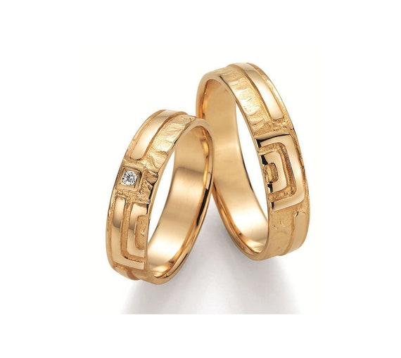 Paar Handgefertigte Trauringe Eheringe Hochzeitsringe 585 750 Gold 950 Platin Oder 925 Sterlingsilber Mit Diamant