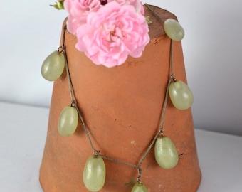1930s Art Deco prehnite green grape necklace, graduated jade colour grapes on a silver braid & cable link chain