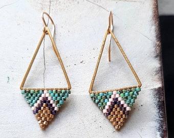 Modern Triangle Earrings/Diamond Shaped Earrings/Statement Earrings/Gold  EarringsGreen Purple/Dangle Earrings/Beaded Earrings/Boho Style
