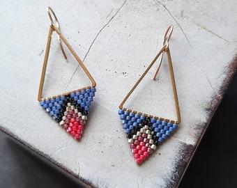 Modern Triangle Earrings/Diamond Shaped Earrings/Statement Earrings/Blue Silver Pink Earrings/Dangle Earrings/Beaded Earrings/Boho Style