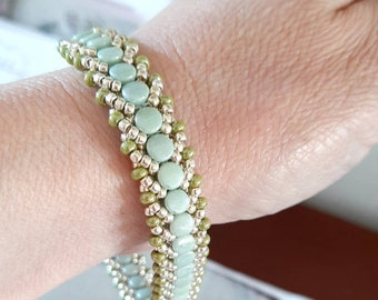 Sage Green Beaded statement bracelet/handwoven bracelet/handmade bracelet/Silver bracelet/Birthday jewelry/Beadaddict