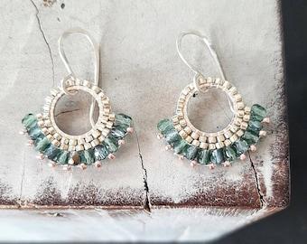 Blue Tourmaline Beaded Earrings/Beaded Hoops/Colourfull Earrings/Handmade beaded earrings/Boho Style Beaded Earring/Summer Earrings