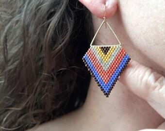 Beaded Earrings/Large Triangle Earrings/Statement Earrings/Blue and Orange Earrings/Boho Style earrings/Birthday Earrings